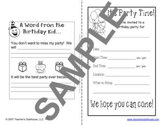 Emergency Sub Activities From Teachers Clubhouse - Sample birthday invitation in french