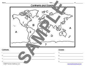 Printables The Physical World Continents And Oceans Worksheet social studies resources from teachers clubhouse view sample