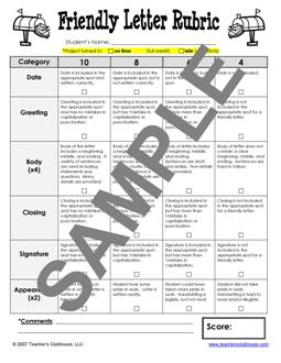 Friendly Letter Rubric For First Grade