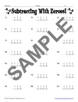 math worksheet : math resources from teacher s clubhouse : 3 Digit Subtraction With Regrouping Across Zeros Worksheets