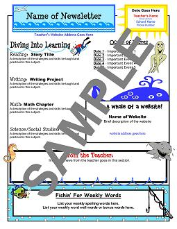 TC_Ocean_News_Template Ocean Themed Newsletter Template on microsoft word, free printable monthly, free office, classroom weekly, fun company,