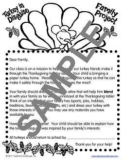 November resources from teachers clubhouse turkey in disguise family project template above view sample maxwellsz